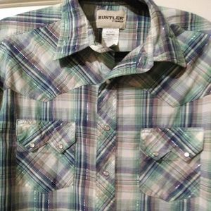 Country Western Pearl Button Snap Short Sleeve